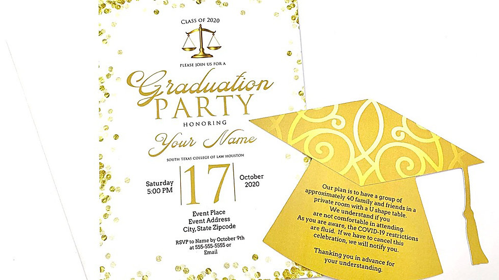 Gold and White Graduation Invitations, Gold Bokeh Invites with Grad Hat Inserts