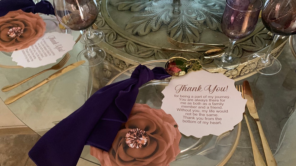 Flower Shaped Menu Cards, Large Flower Thank You Cards