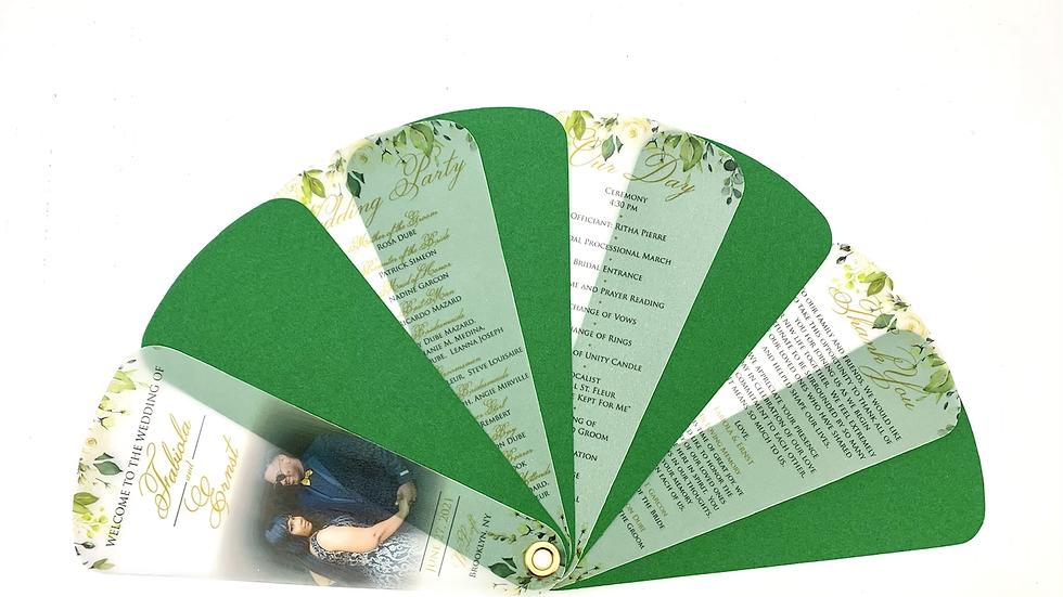 Vellum Overlay Wedding Fan Programs - 4 Petals No Ribbon