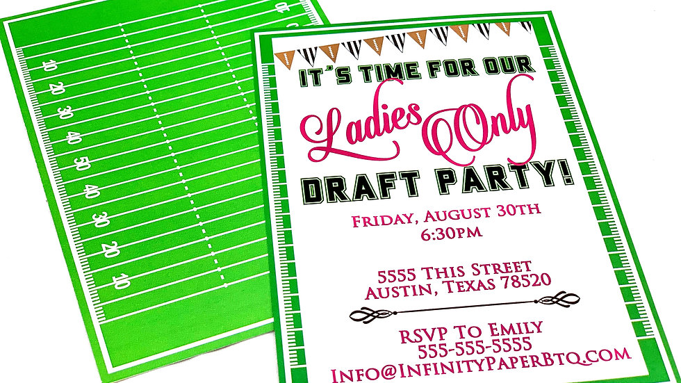 Football Party Invitations, Draft Party Invitations