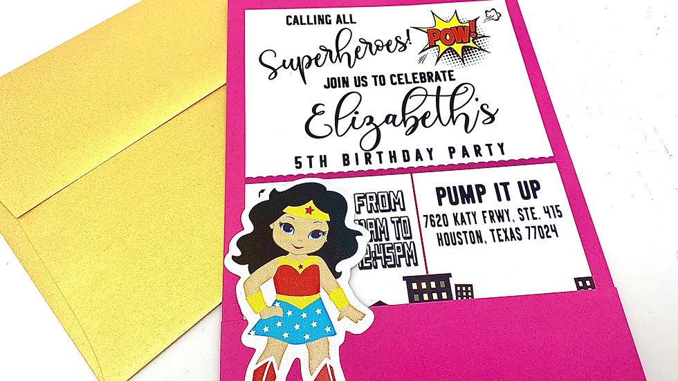 Wonder Woman Themed Pocket Style Invitations