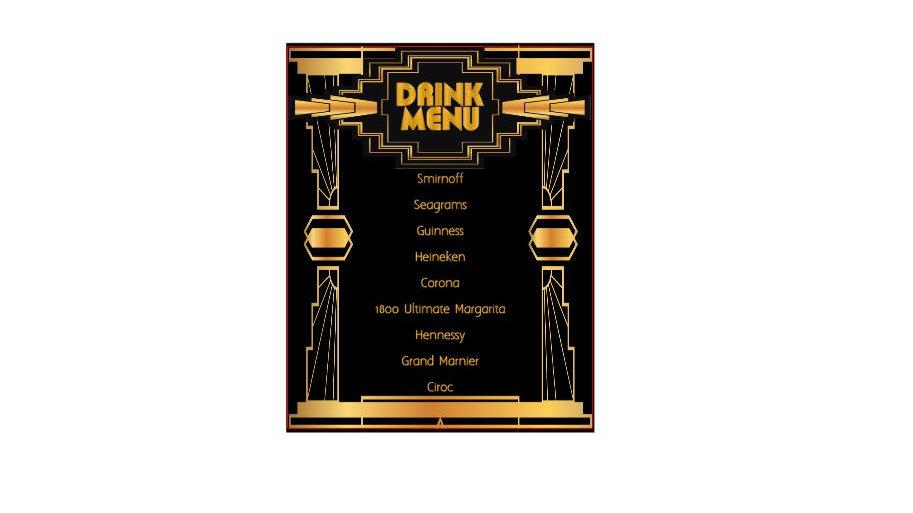 Art Deco Drink Menu - Visions by K