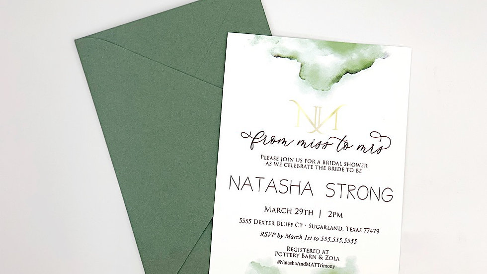 Botanic Greenery Collection Invites, Bridal Shower Invites, Spring Collection 1