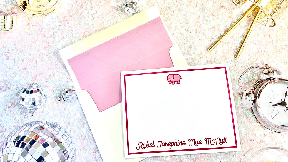 Personalized Elephant Note Cards • 12 per order