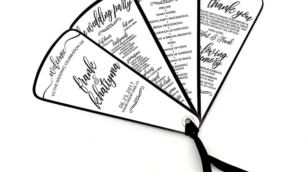 Black Tie Fan Programs 4 Petals With Ribbon
