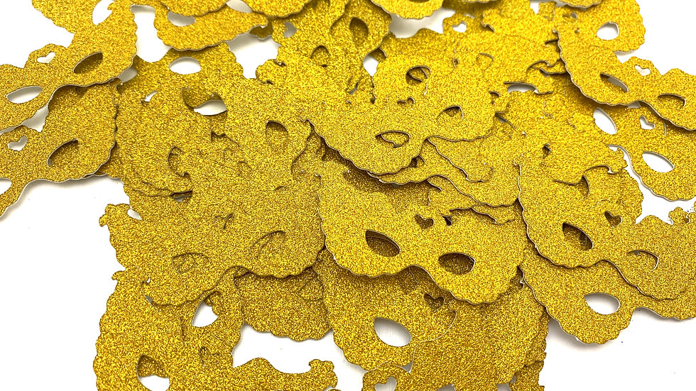 Gold Glitter Mini Masks Cut Outs - 100 per package