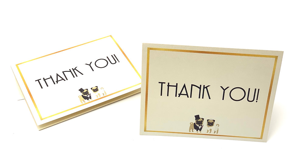 Married Pug Life Thank You Note Cards - Set of 8