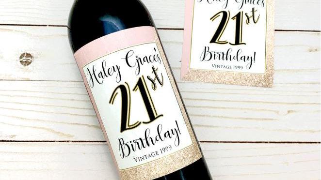 21st Birthday Gift Wine Labels, 21 Birthday Gift for Her, Milestone Birthday