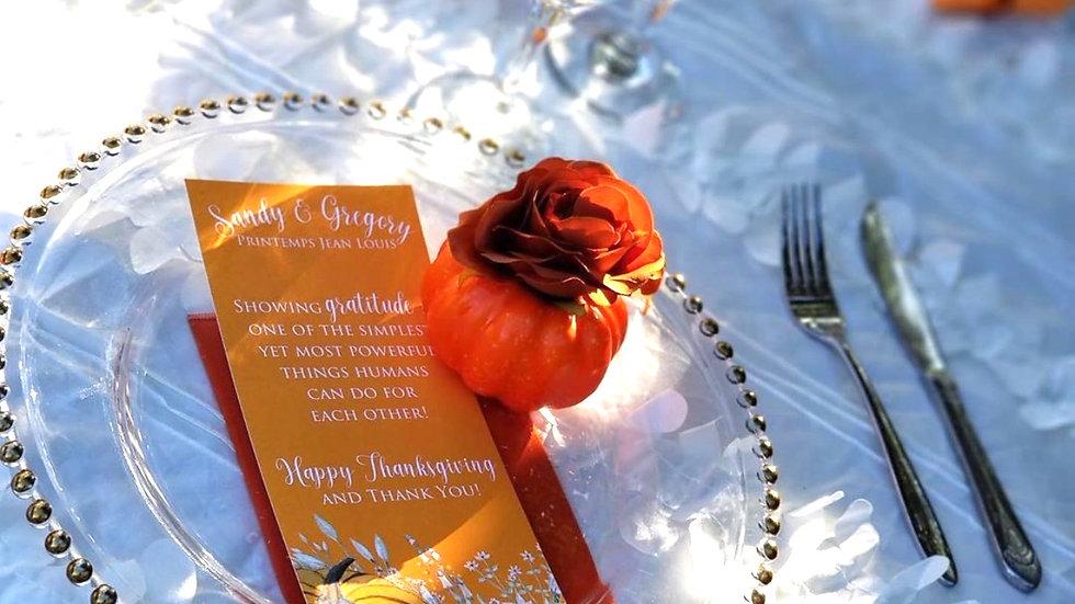Thankful for Pumpkins Rectangular Menus or Program Cards