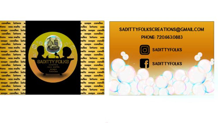 Saditty Folks Business Cards, Front and Backside Cards