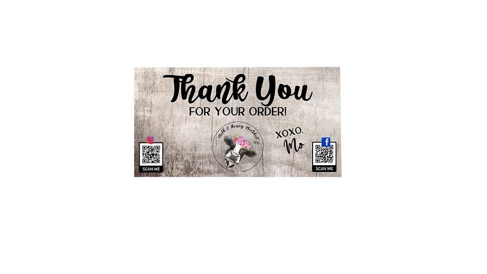 Thank You Cards - Milk & Honey Market