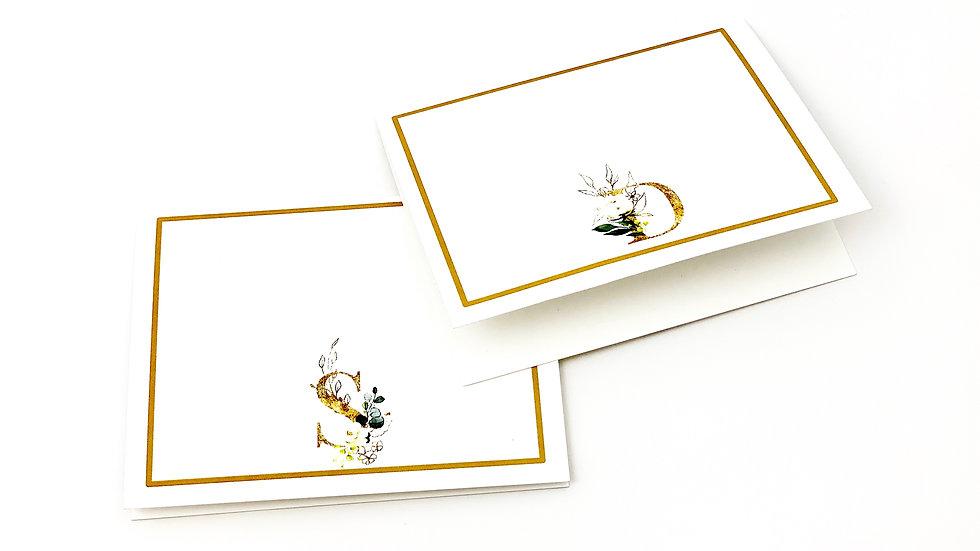 Faux Gold Foil Monogram Note Cards - Set of 8
