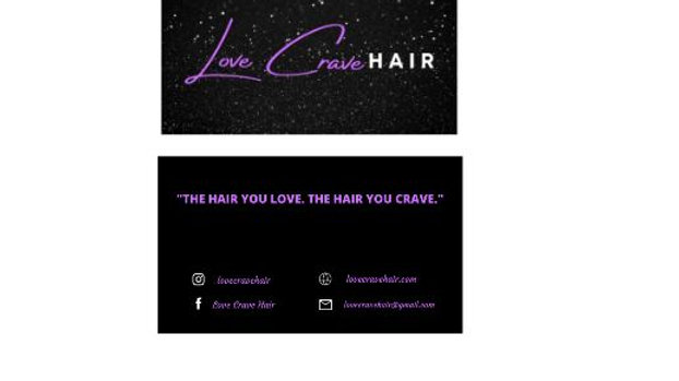 Love Crave Hair Business Cards, Front and Backside Cards