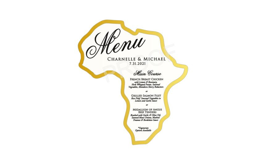 Africa Shaped Menu Cards with Gold Foil Border