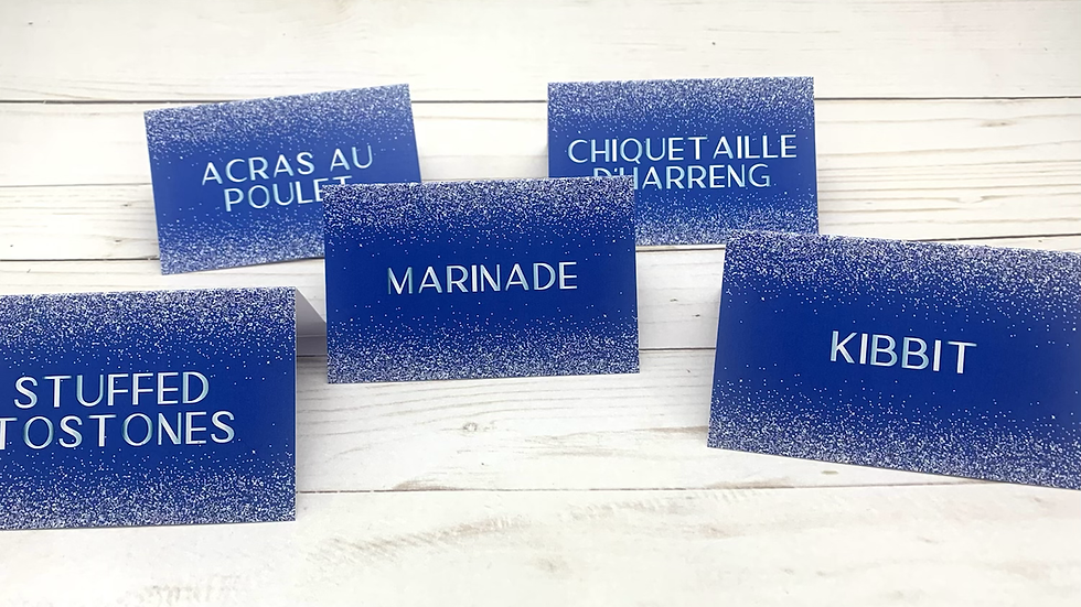 Royal Blue and Simulated Silver Glitter Tent Style Food Cards
