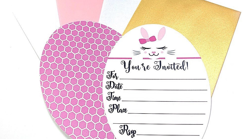 Bunny Fill-In Invitations, Easter Bunny Party Invitations, Bunny Invitations
