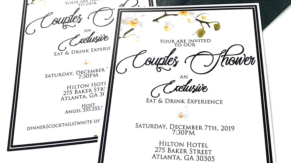 White Orchid Luxury Invitations, Orchid Invitations