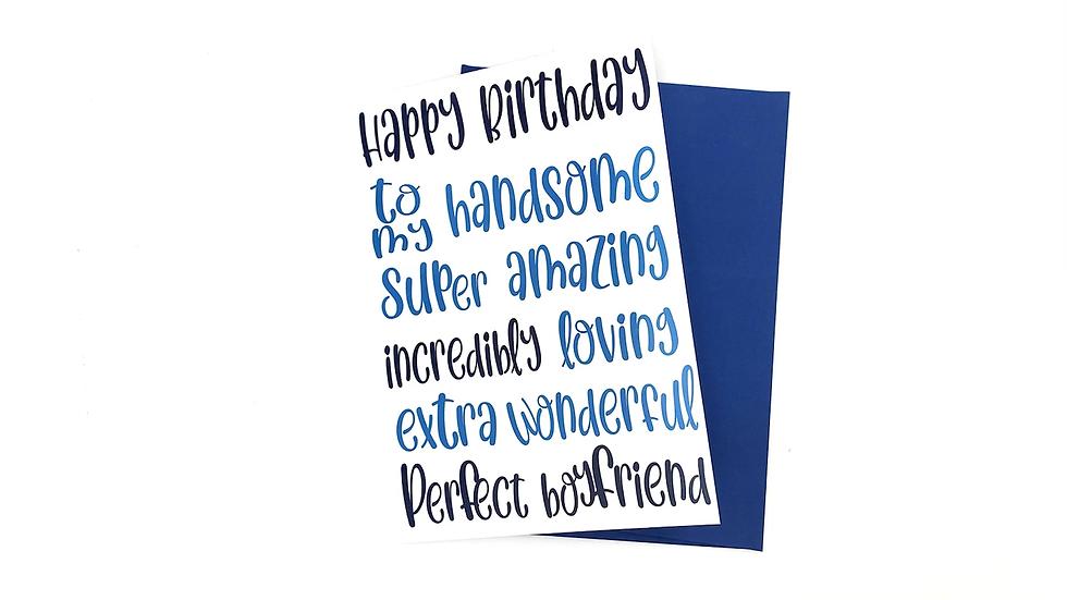 Boyfriend Birthday Card, Male Birthday Card, Perfect Boyfriend