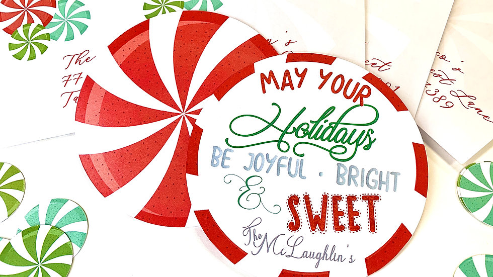 Peppermint Candy Holiday Cards, Round Holiday Cards