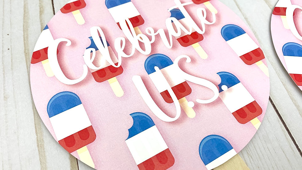 4th of July Ice Cream Paddle Fans