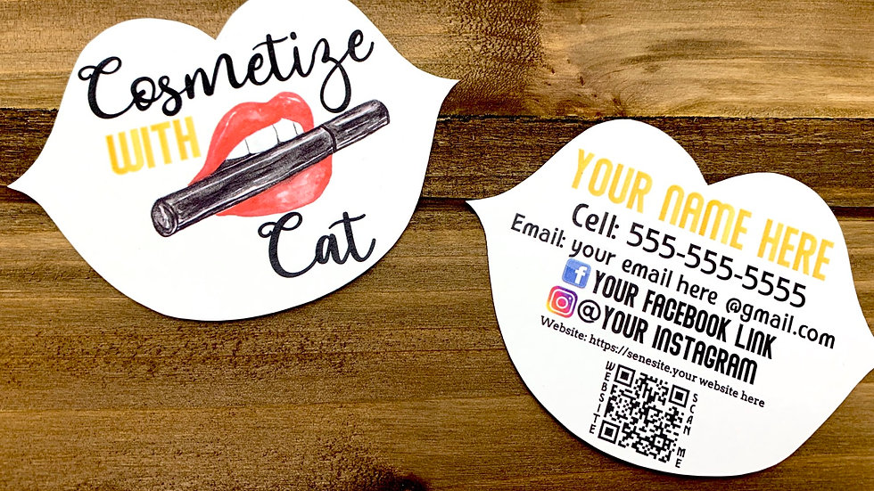 Lip Shape Business Cards, Cosmotology Cards, Lip Cards