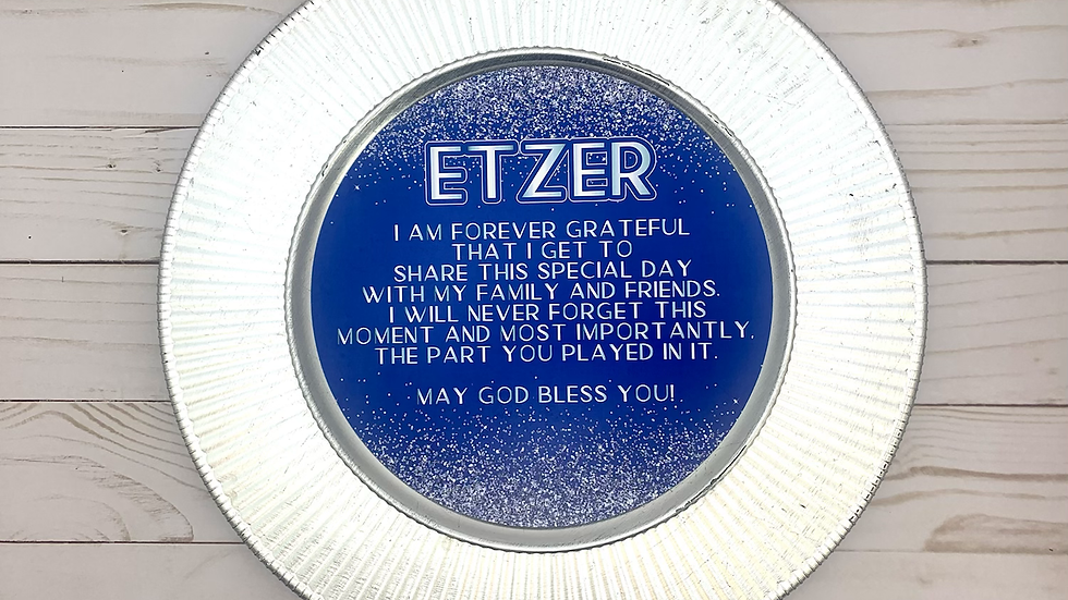 Royal Blue and Simulated Silver Glitter Thank You Rounds or Menu Circles