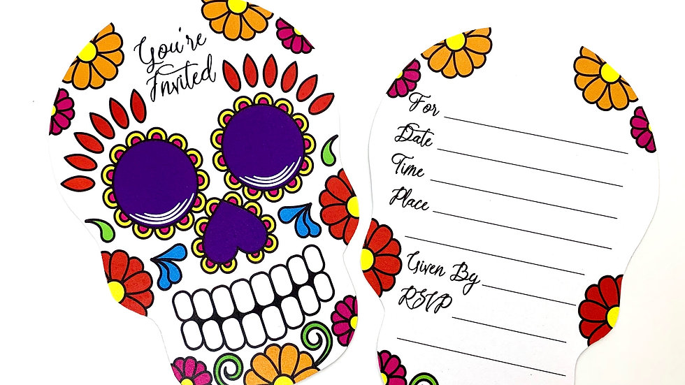 Day of the Dead Fill-In Invitations, Sugar Scull Party Invitations