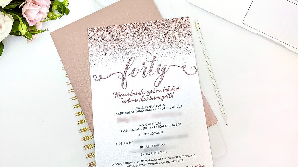 Rose Gold Glitter Birthday Invitations