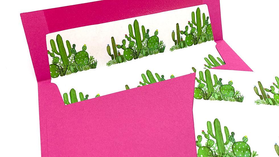 "5"" x 7"" Square Flap Envelope Liners - Cactus Design"