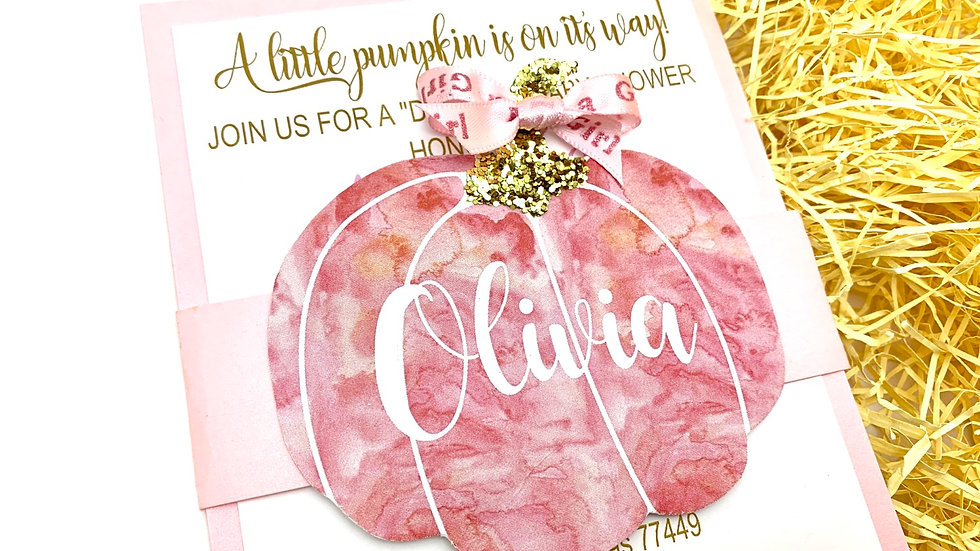 Watercolor Pumpkin Baby Shower Invitations