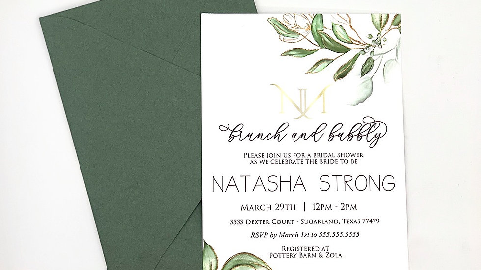Botanic Greenery Collection Invites, Bridal Shower Invites, Spring Collection 3