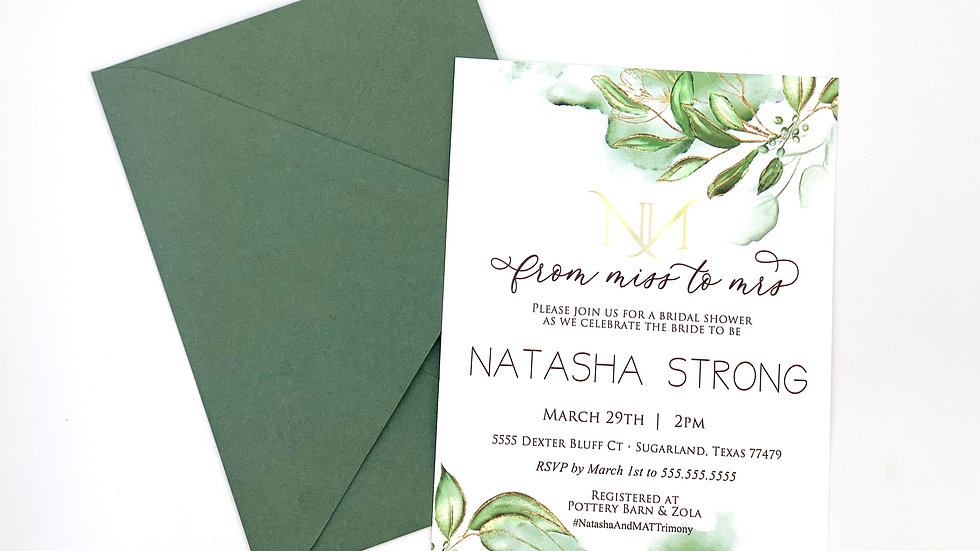 Botanic Greenery Collection Invites, Bridal Shower Invites, Spring Collection 2