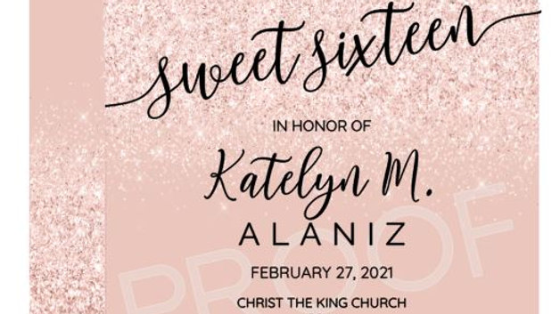 Private Listing - 25 Rose Gold/Blush Sweet Sixteen Invitations