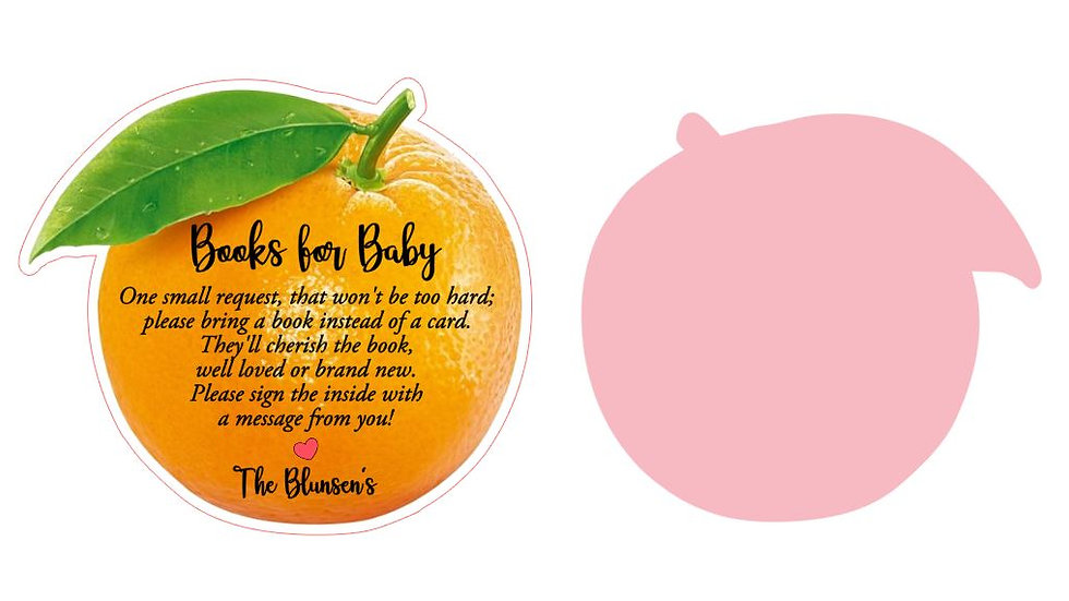 Orange Shape Insert Cards, Books for Baby, Cutie Baby Shower