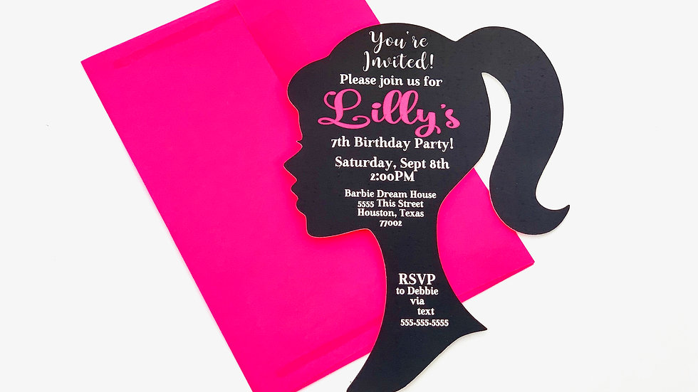 Barbie Silhouette Invitations, Ponytail Girl Invites, Girl Party Invitations