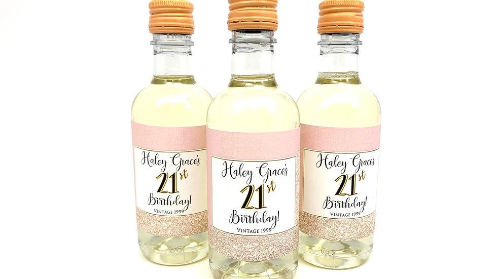 Mini Wine Bottle Labels (8 ct) - Blush/Rose Gold Glitter