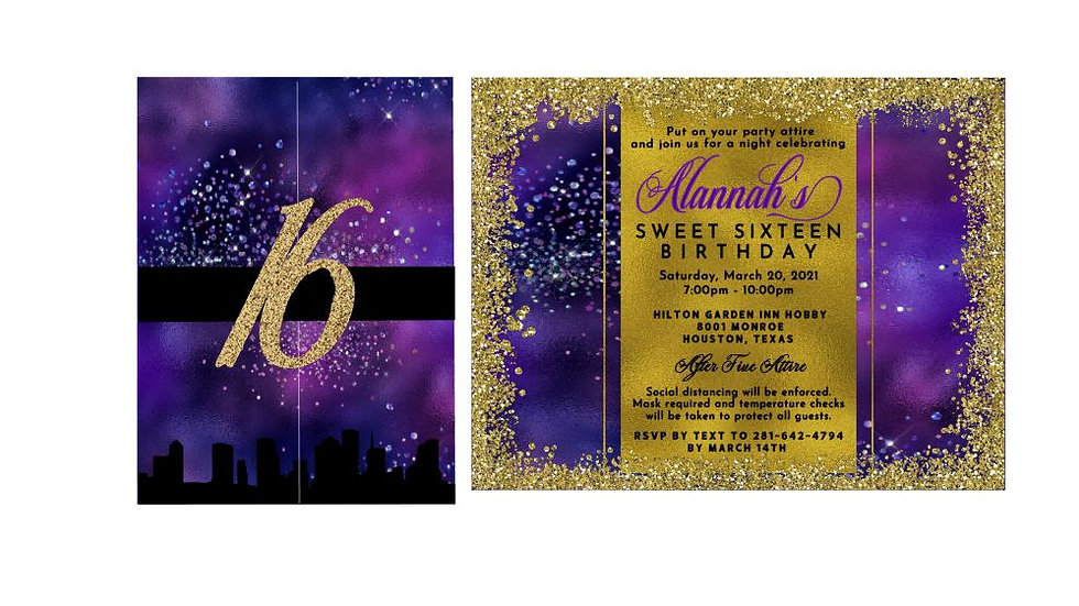 Private Listing for Taia - Sweet Sixteen Invitations