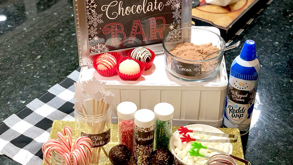 Hot Chocolate Bar Sign, Labels and Glitter Snowflake Stir Sticks