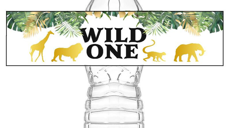 Wild One Water Bottle Labels, Safari Theme Water Bottle Labels Instant Download