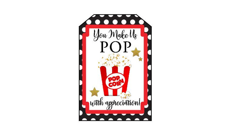 Popcorn Tags - You Make Us Pop With Appreciation