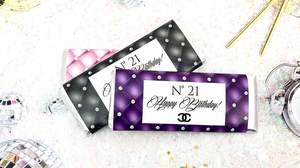 Happy Birthday Designer Candy Bar Wrappers - Choose your color!