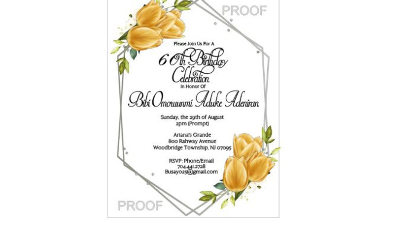 Yellow Tulip Silver Art Deco Framed Party Invitations
