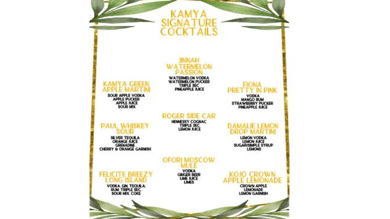 Private Listing - Bar Menus for Visions by K