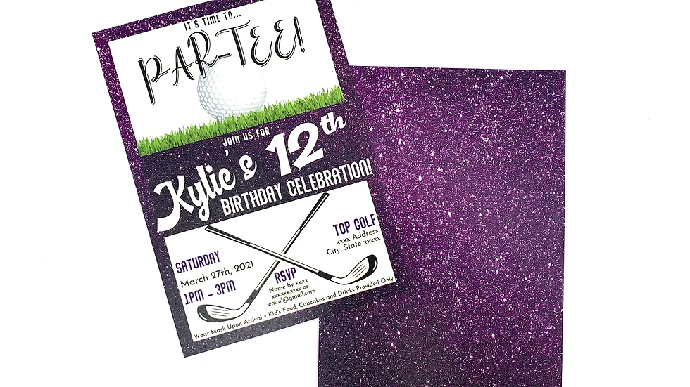 Golf Party Invitations, Purple Golf Party