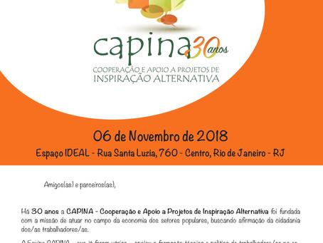 CAPINA REALIZA EVENTO  EM COMEMORAÇÃO AOS 30 ANOS