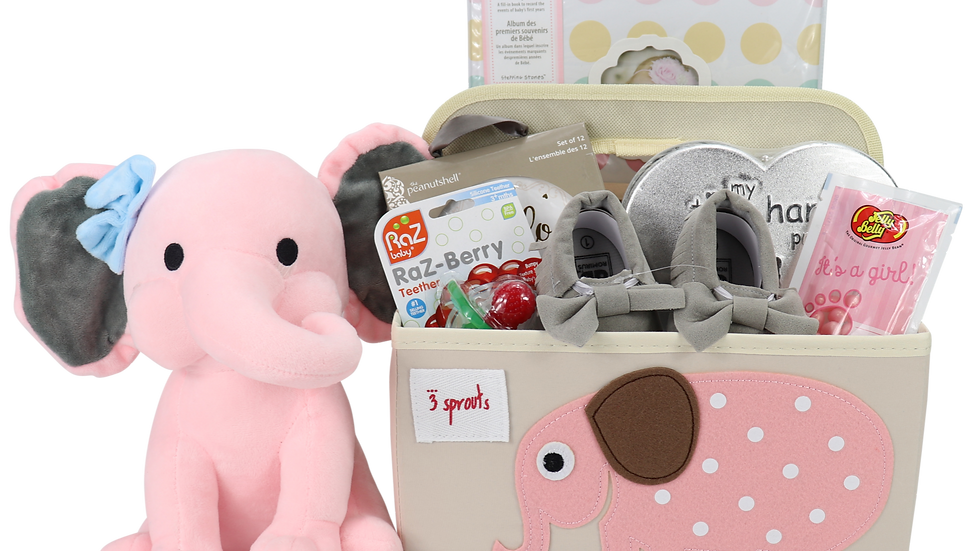 Baby Girl Elephant Diaper Caddy