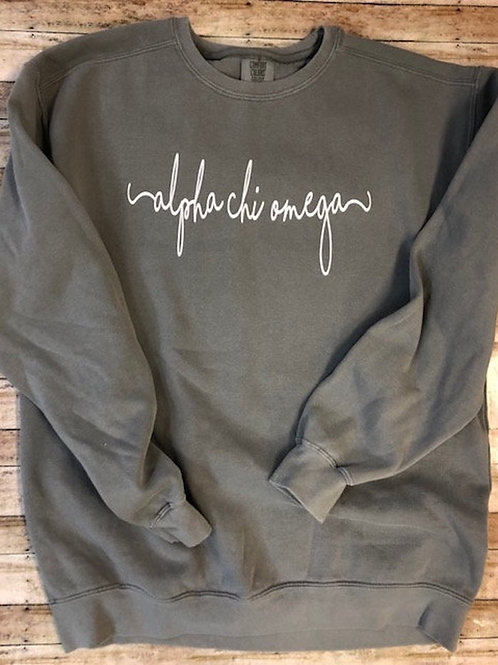 Custom Alpha Chi Omega Shorelines Comfort Colors Sweatshirt