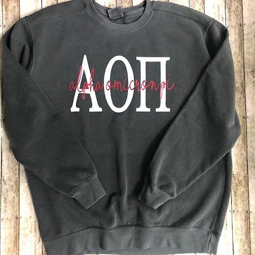 Alpha Omicron Pi Pepper Comfort Colors Sweatshirt