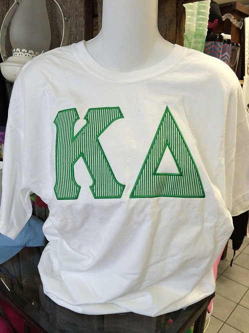 Kappa Delta Striped Raised Letter Shirts