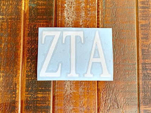 "Zeta Tau Alpha Car Decal - 3"" X 4"" ZTA Greek Letters"
